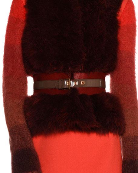 Two-Tone Calf Hair Fur Belt