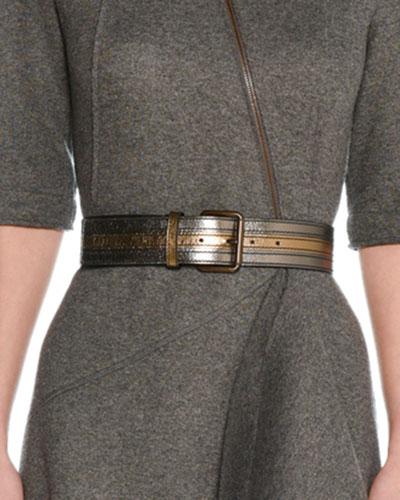 Aged Metallic Leather Belt
