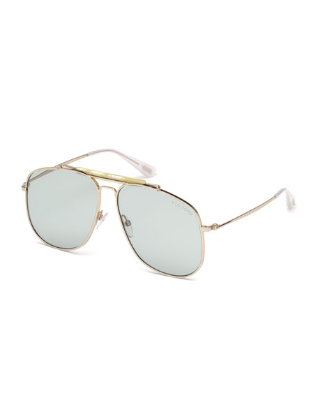 TOM FORD Connor Aviator Metal Sunglasses