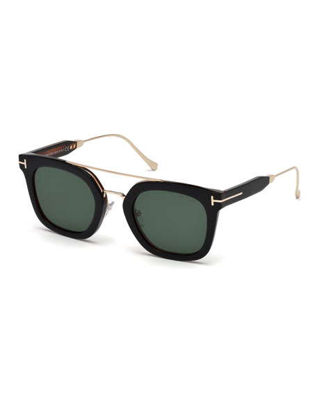 TOM FORD Alex Square Acetate & Metal Sunglasses