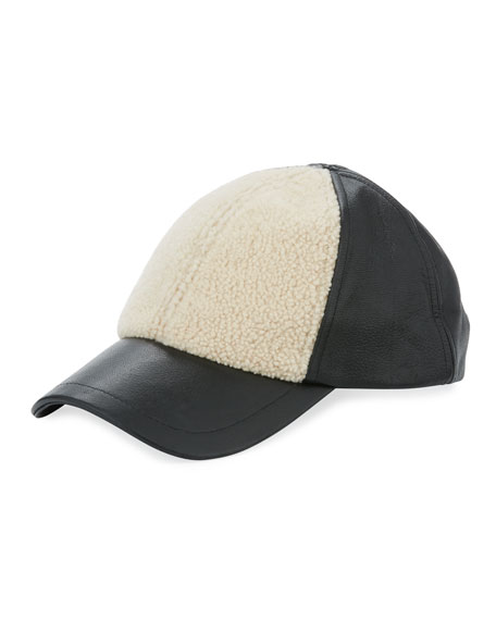 Curly Pile Leather Baseball Hat
