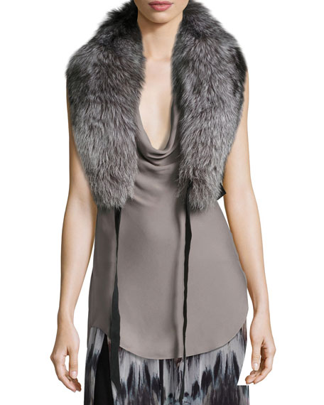 Judy Fox Fur Shawl Collar W/ Leather Straps