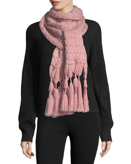 Il Borgo Knit Cashmere Scarf w/ Tassel Fringe,
