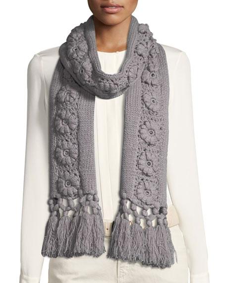 Flower Knit Cashmere Scarf w/ Fringe