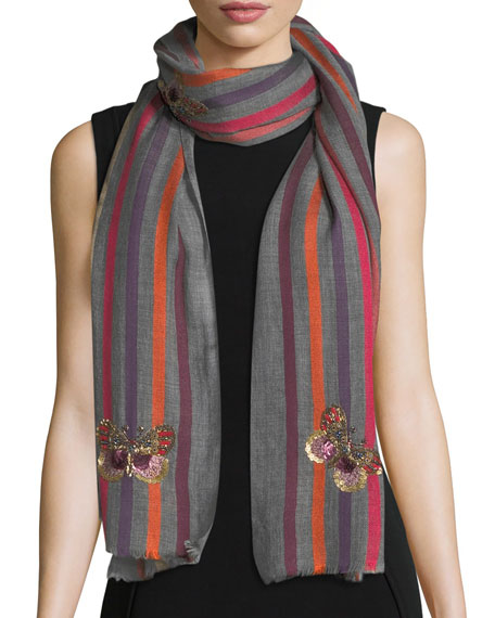 Butterfly Wool-Silk Striped Scarf
