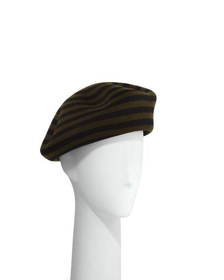 Striped Wool Beret Hat