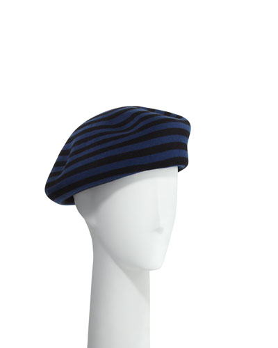 Striped Wool Beret Hat