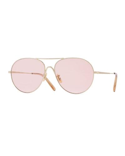 Rockmore Metal Oversized Pilot Sunglasses, Rose Gold/Pink Wash