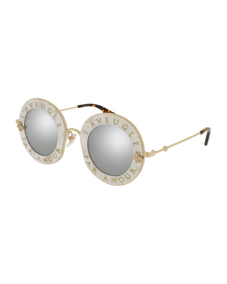 L'Aveugle Par Amor Round Mirrored Sunglasses