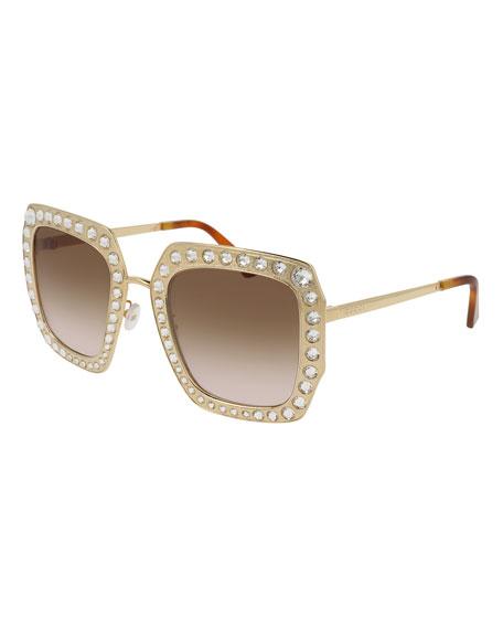 Gucci Oversized Square Metal Sunglasses w/ Swarovski® Frame