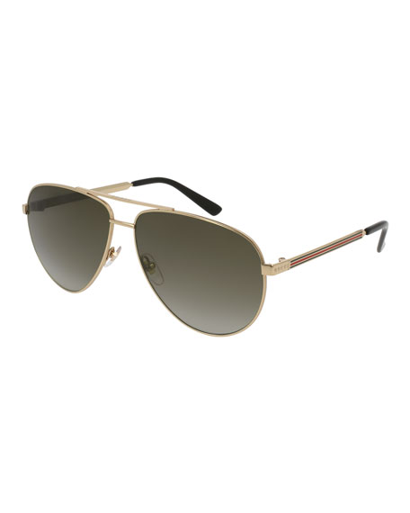 Gucci Metal Aviator Sunglasses w/ Web Trim