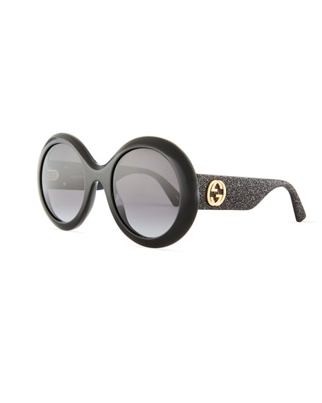 5151226be81 Gucci Rounf GG Glitter Sunglasses