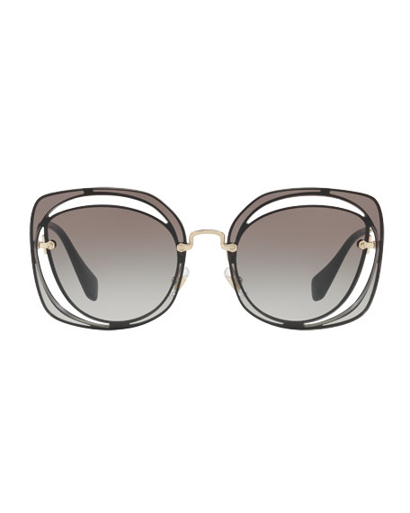 Gradient Square Cutout Metal Sunglasses