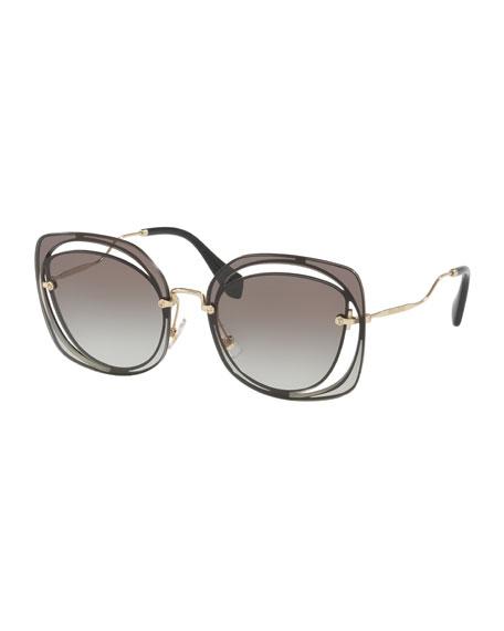 92423e893f7 Miu Miu Gradient Square Cutout Metal Sunglasses