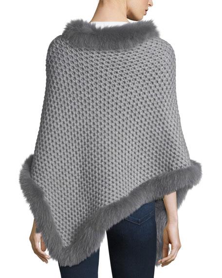 Seed-Stitched Cashmere Fox-Trim Poncho, Gray