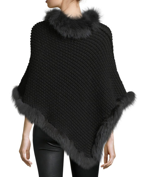 Cable-Knit Cashmere Fox-Trim Poncho, Black