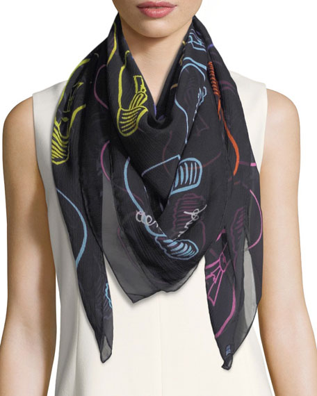 Anna Coroneo Silk Chiffon Square Light Bulbs Scarf,