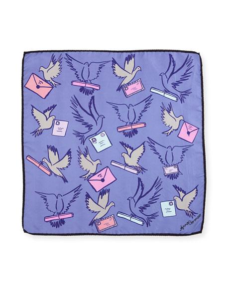 Mini Square Silk Twill Messenger Birds Scarf