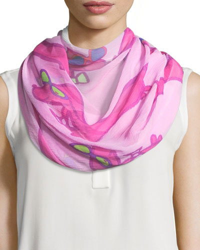 Silk Chiffon Square Hot Dogs Scarf, Pink