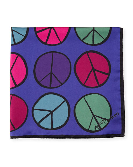 Peace Small Square Silk Scarf