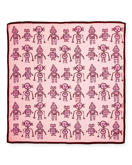 Silk Chiffon Square Droids Scarf, Pink