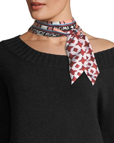 Double-Sided Wrappy Skinny Silk Scarf