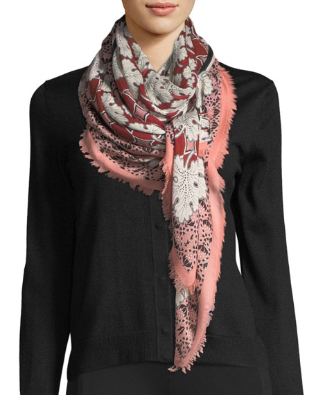 Silk-Wool Heritage Shawl, Red Pattern