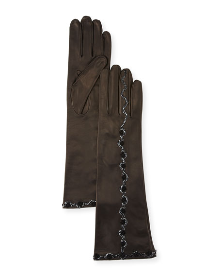 Portolano Sequin & Flower Embroidery Napa Leather Gloves