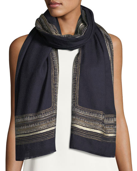 Metallic Border Cashmere-Wool Scarf