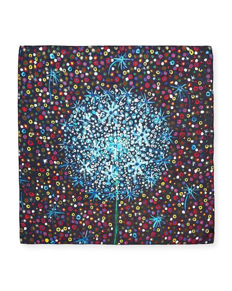 Hide Silk Dandelion Square Scarf, 100cm