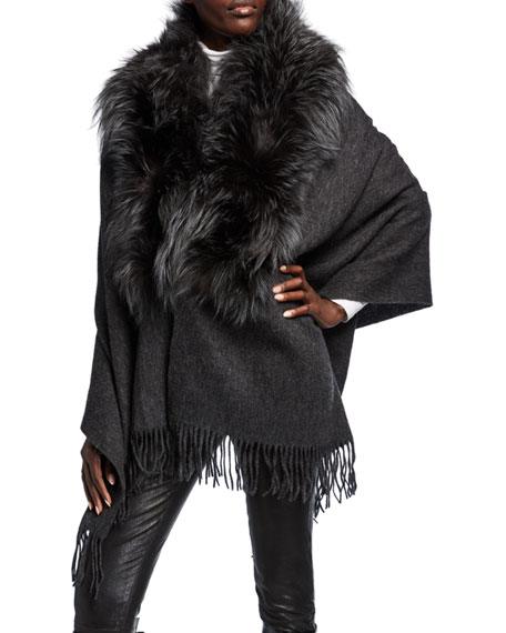 Wool Wrap w/ Fur Trim