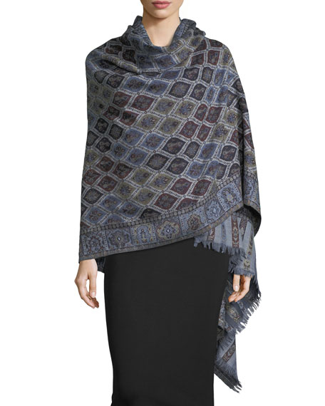 Cosmo Clover Wool Shawl, Navy