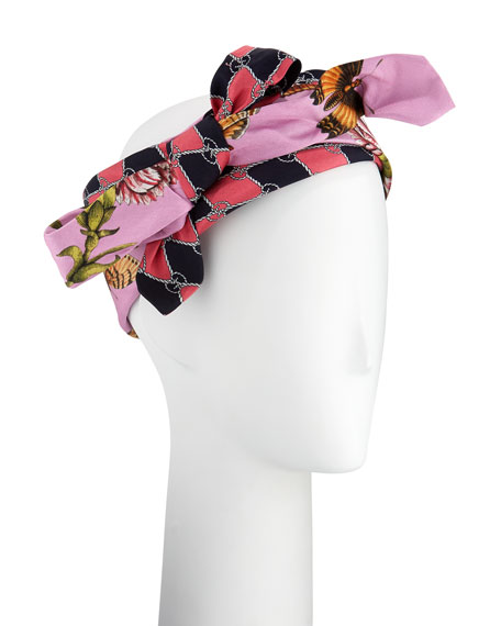Gucci Botanic Chane Silk Knotted Headband