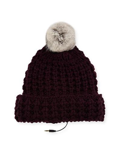 Chunky Tuck Beanie Hat w/ Fur Pompom