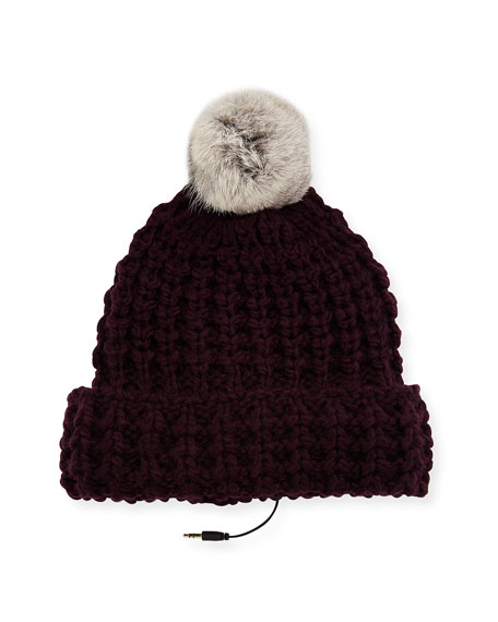 Rebecca Minkoff Chunky Tuck Beanie Hat w/ Fur