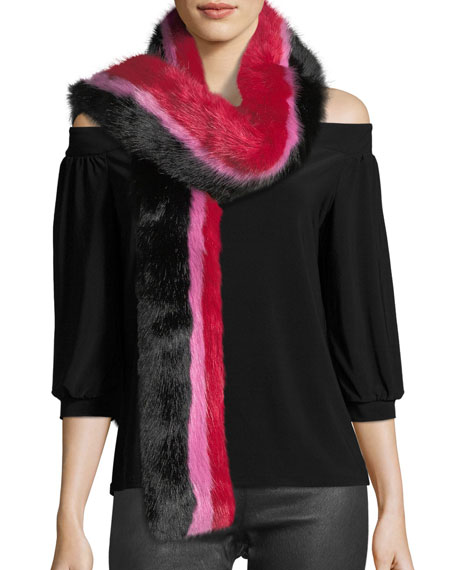 Snugglez Faux-Fur Striped Scarf