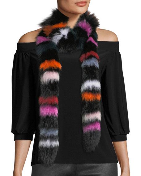 Rainbow Twist Fur Scarf
