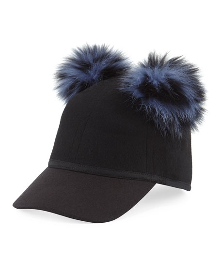 Sass Wool Felt Pompom Baseball Cap, Black/Blue