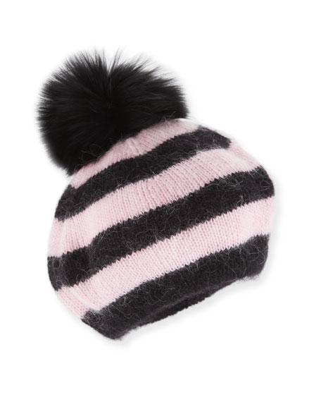 Striped Bobbi the Beret w/ Fur Pompom, Pink