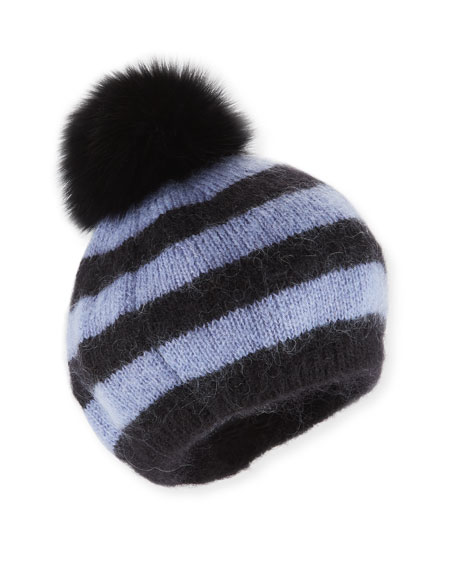 Striped Bobbi the Beret w/ Fur Pompom, Multi