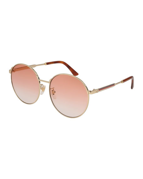 Gucci Round Metal Web Sunglasses