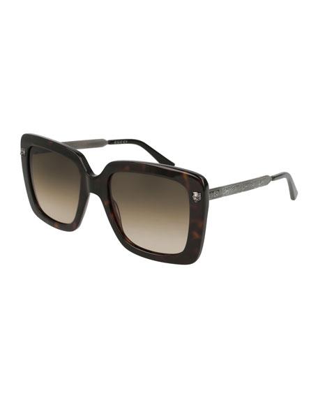 Acetate Square Tiger Sunglasses, Brown