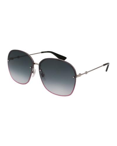 Glittered Metal Square Sunglasses, Gray