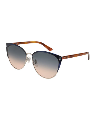 Gradient Semi-Rimless Cat-Eye Sunglasses, Blue
