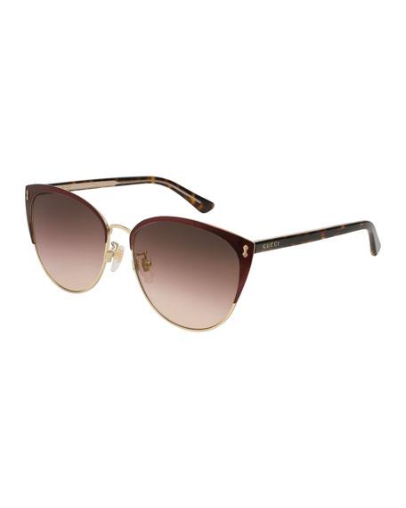 Gucci Gradient Semi-Rimless Cat-Eye Sunglasses, Red