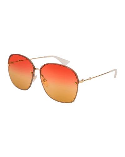 Glittered Metal Square Sunglasses, Gold