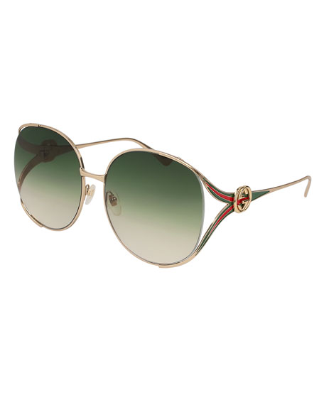 498334b29a8 Gucci Oval Web GG Sunglasses