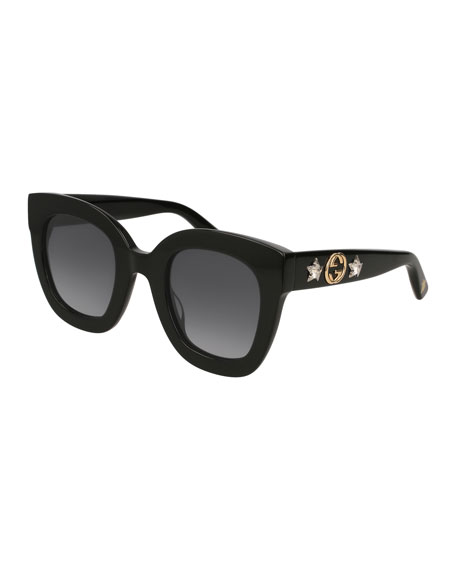 Rectangle Acetate GG Sunglasses w/ Crystal Stars, Black Pattern