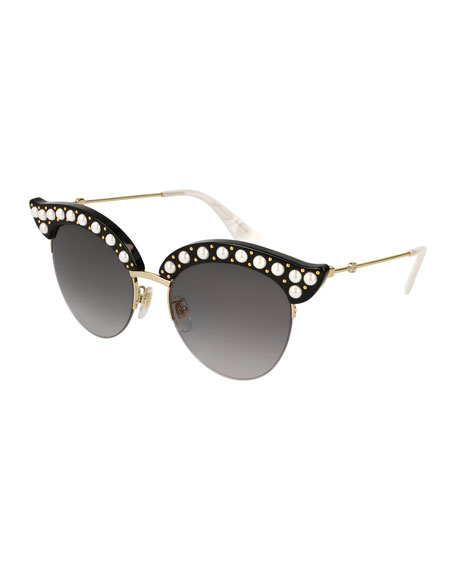 Semi-Rimless Cat-Eye Sunglasses w/ Pearlescent Bead Trim, Black Pattern