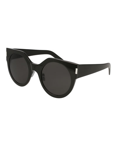 Slim Acetate Round Sunglasses, Black